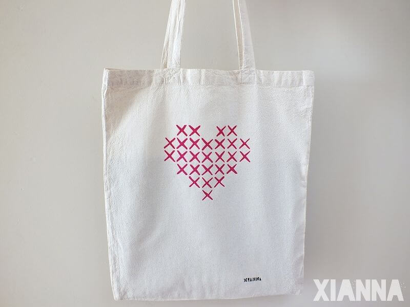 Stitch my heart tote bag