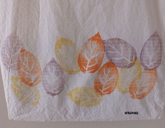 On sale cotton tote bag autumn leaves hand printed.