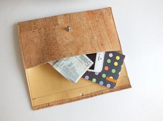 Vegan wallet / cork clutch / cork wallet - handmade of natural cork