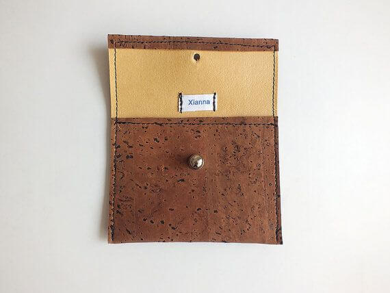 Vegan coin purse / card holder - handmade of dark brown cork