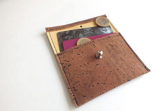 Vegan coin purse / card holder - handmade of dark brown cork