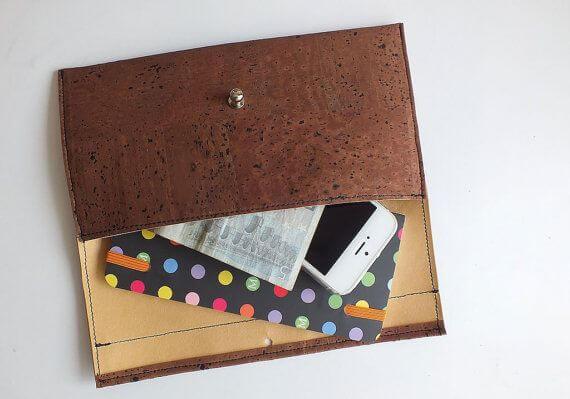 Brown vegan wallet / cork clutch / cork wallet - handmade of natural brown cork