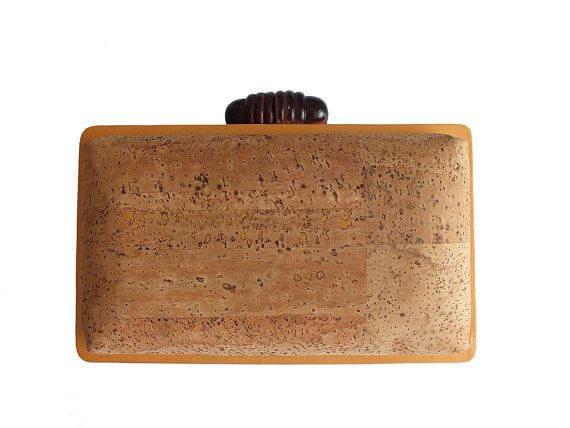 Natural cork clutch box / vegan clutch box - made of cork and wood