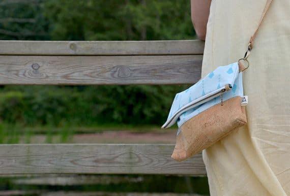 "Vegan fold over clutch / cork clutch / cross body bag - ""Kite"""