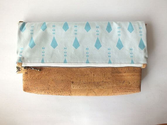 "Vegan fold over clutch / cork clutch / cross body bag - ""Kite"""