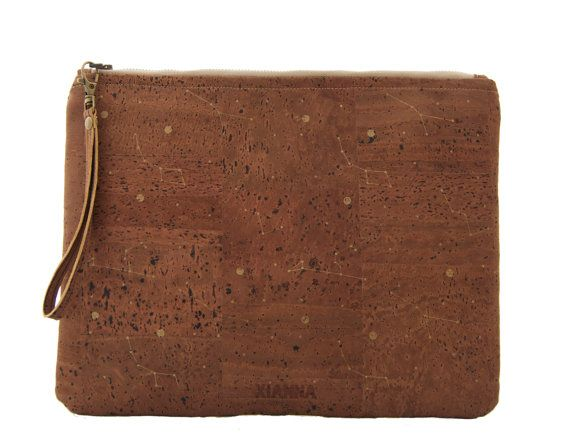 "Brown cork clutch / Vegan clutch ""Constellations"" - Made of dark cork and organic cotton"