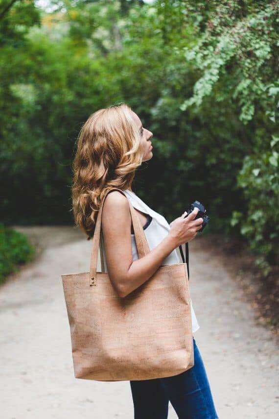 Cork shopper bag / cork tote bag / vegan tote bag / vegan shopper - Handamade of natural cork leather