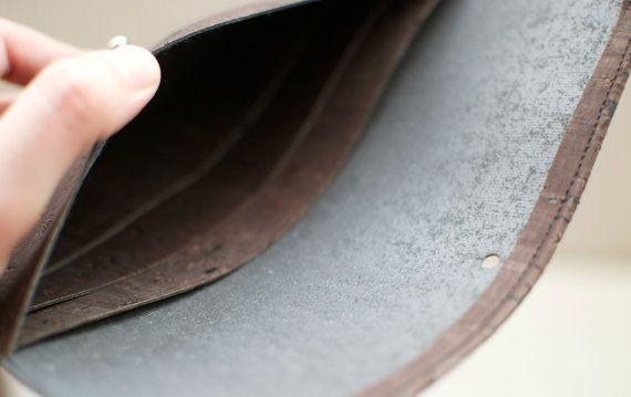 Brown vegan wallet / cork clutch / cork wallet - handmade of natural dark cork