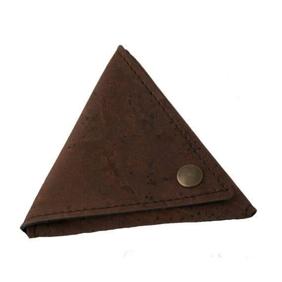 Dark triangle cork purse