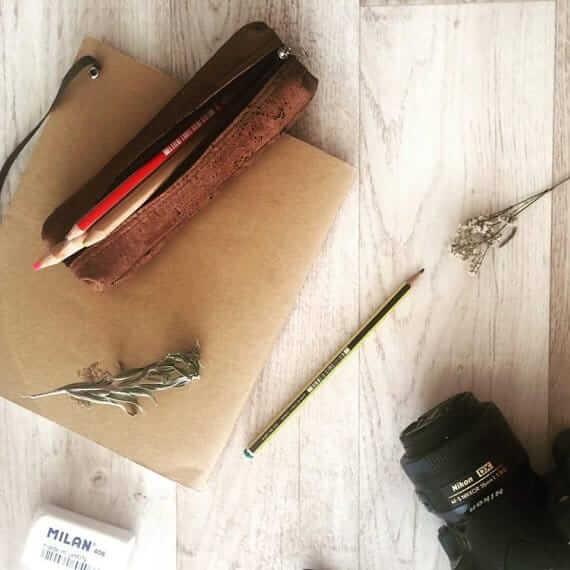 Cork pencil case handmade of dark cork