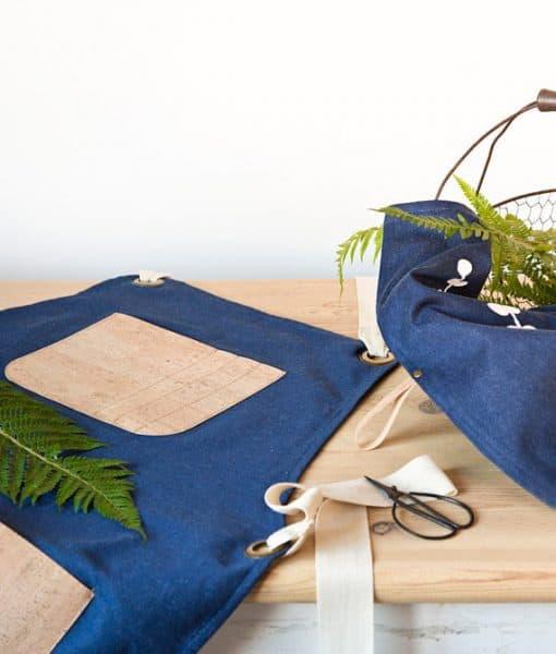 Cork and organic denim apron