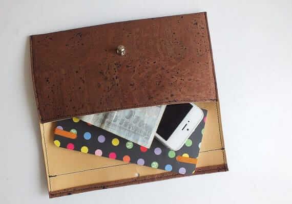 Cork wallet / brown vegan wallet / cork clutch - handmade of natural dark cork