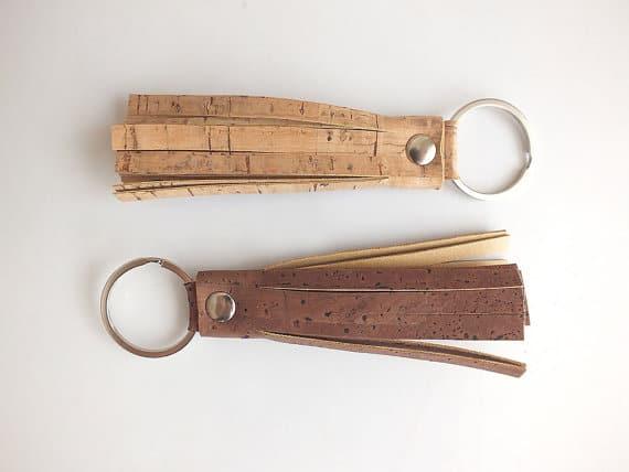 Cork tassel keychain bag charm