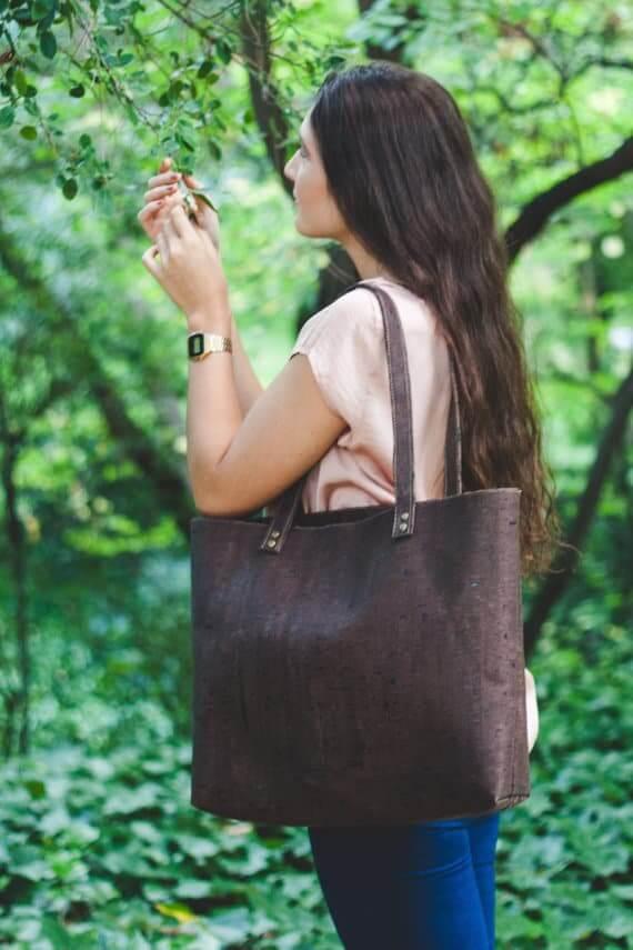 Cork tote bag / cork shopper bag / cork bag / vegan tote bag / vegan shopper - Handamade of dark cork leather