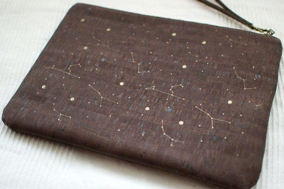 "Cork wristlet clutch / Dark cork clutch / Vegan clutch ""Constellations"" - Made of dark cork and organic cotton"