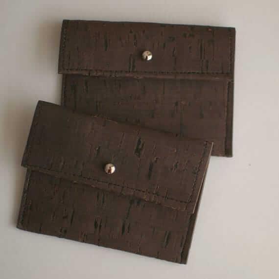 Vegan coin purse / card holder - handmade of dark cork