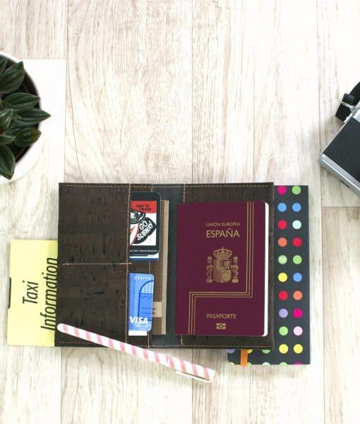 cork passport cover brown
