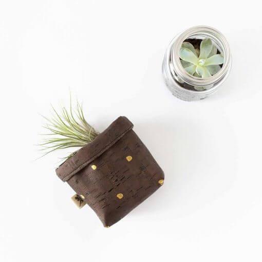 mini cork plant pot gold polka dots
