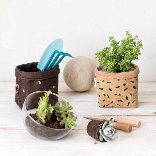 objetos de corcho mini cesto