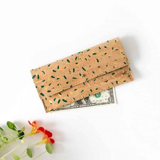 billetera de corcho natural confetti