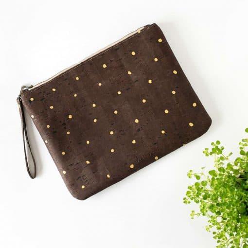 bolsos de mano corcho marrón lunares dorados