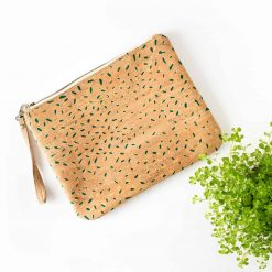 bolso de mano corcho natural estampado confetti