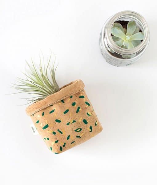 mini cesto corcho natural confetti
