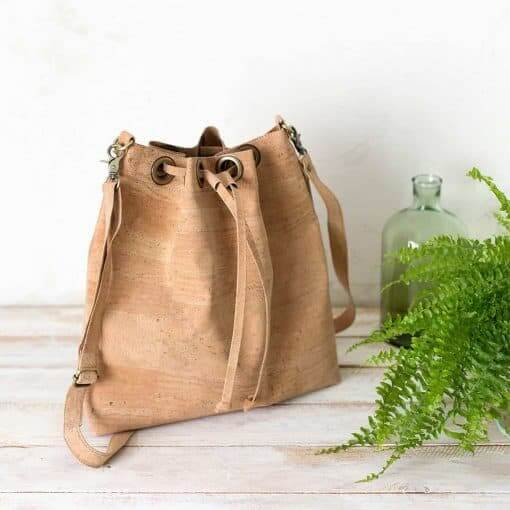 Bolso bucket corcho natural