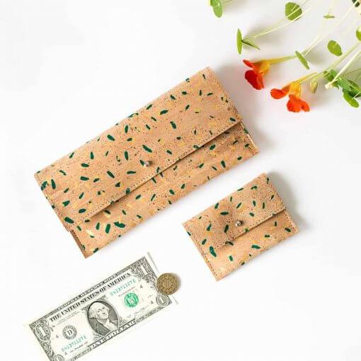 monedero corcho y cartera confetti