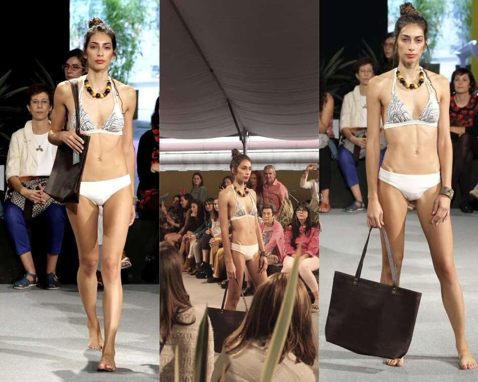 Bolso de corcho en el desfile de moda sostenible españa