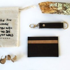 eco gift for him cork card wallet lanyard keychain