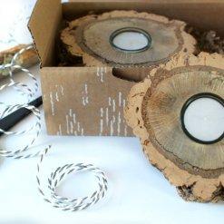 regalo responsable juego portavelas corcho madera